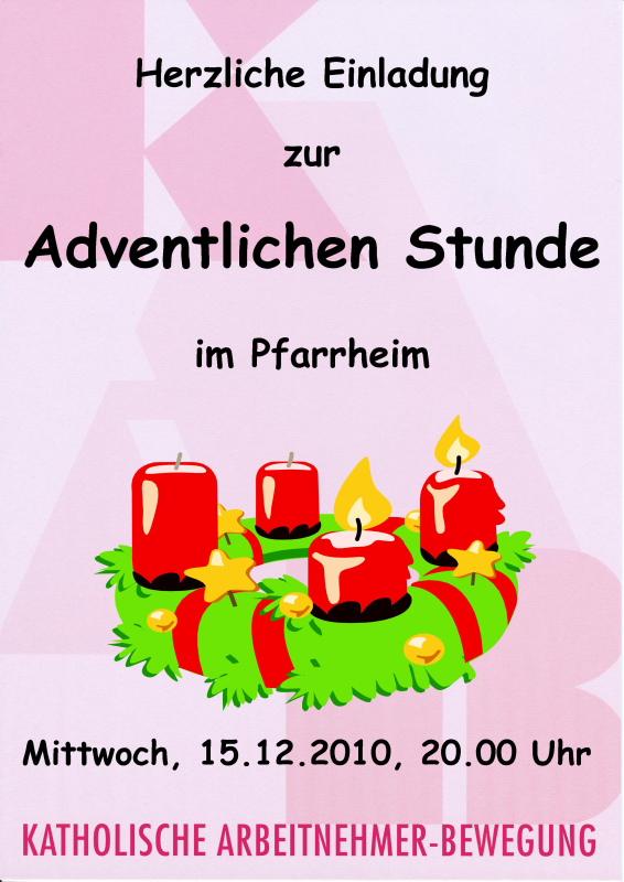Plakat Adventliche Stunde