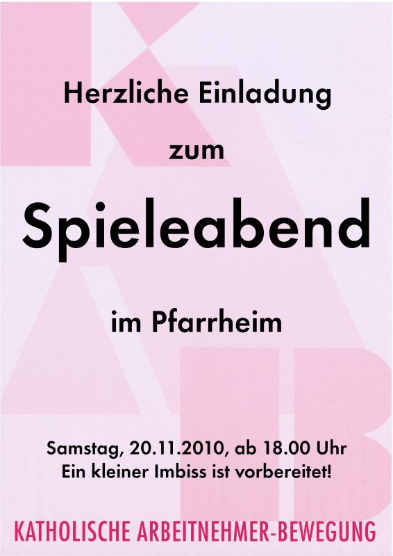Plakat Spielabend 2010-11-20